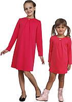 Платье  для девочки трикотажное с рукавом М-1107  рост 98 104 110 116 122 128 134 и 140 красное, фото 1