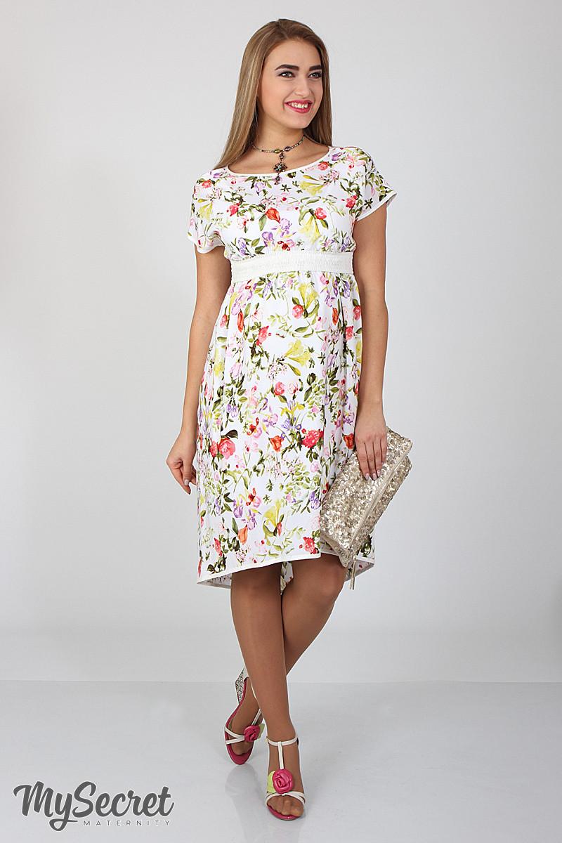 Платье для беременных и кормящих Flyor ЮЛА МАМА (принт цветы, размер S)