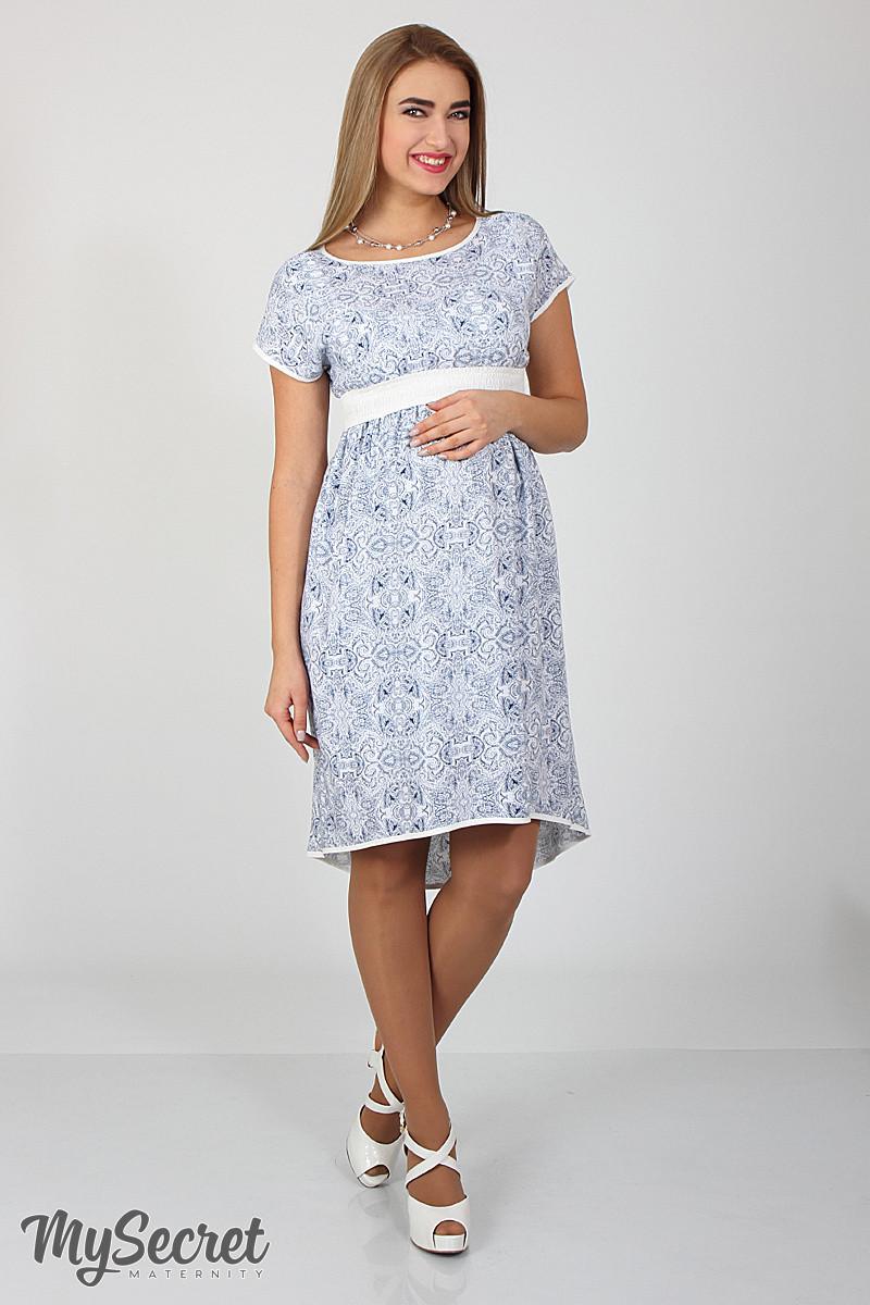 Платье для беременных и кормящих Flyor ЮЛА МАМА (синие цветы, размер S)
