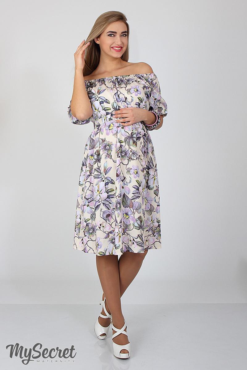 Платье для беременных и кормящих Roxolana ЮЛА МАМА (молочный, размер S)