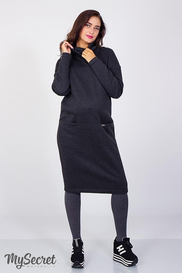 Платье для беременных и кормящих Solly ЮЛА МАМА (антрацитовый меланж, размер S)