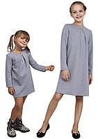 Платье  для девочки трикотажное с рукавом М-1107  рост 98 104 110 116 122 128 134 и 140 серое, фото 1