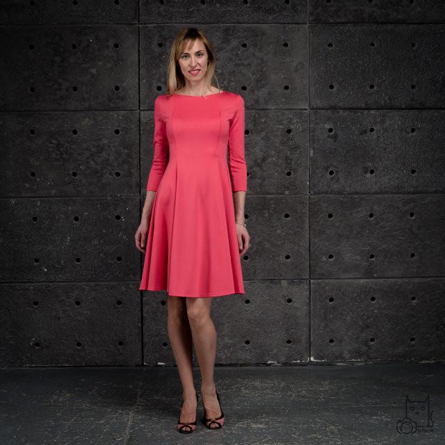 Платье миди приталенного силуэта для беременных и кормящих мам HIGH HEELS MOM (коралловый, размер S/M)