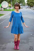 Платье свободного силуэта с оборкой для беременных и кормящих мам HIGH HEELS MOM (голубой, размер M/L)