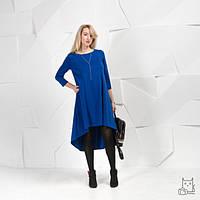 Платье свободного силуэта с асимметричным подолом для беременных и кормящих мам HIGH HEELS MOM (синий, размер on size), фото 1
