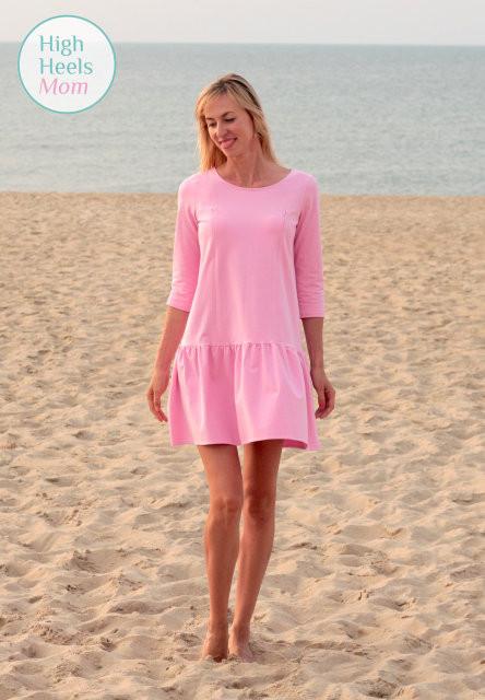Платье свободного силуэта с оборкой для беременных и кормящих мам HIGH HEELS MOM (розовый, размер S/M)