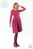 Теплое платье со складками для беременных и кормящих мам HIGH HEELS MOM (бордовый, размер L)