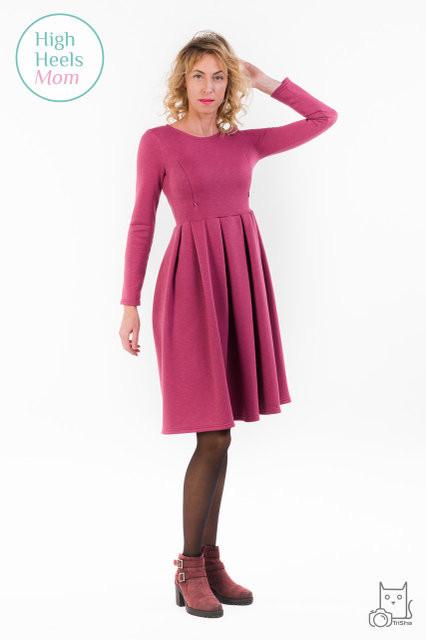 Теплое платье со складками для беременных и кормящих мам HIGH HEELS MOM (бордовый, размер S)