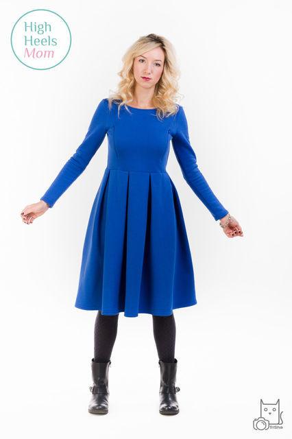 Теплое платье со складками для беременных и кормящих мам HIGH HEELS MOM (синий, размер S)