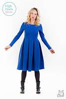Теплое платье со складками для беременных и кормящих мам HIGH HEELS MOM (синий, размер S), фото 1