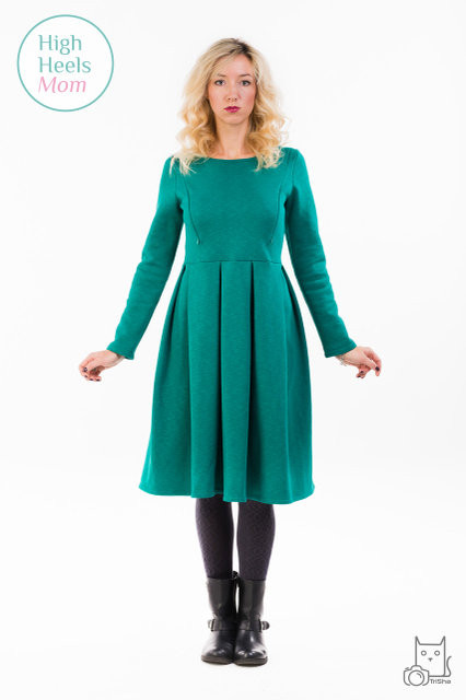 Теплое платье со складками для беременных и кормящих мам HIGH HEELS MOM (зелёный, размер S)