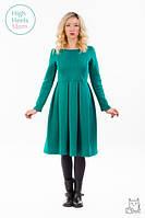 Теплое платье со складками для беременных и кормящих мам HIGH HEELS MOM (зелёный, размер S), фото 1