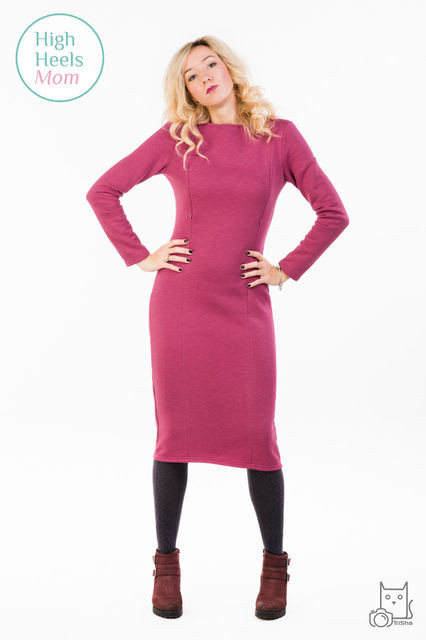 Теплое платье футляр для беременных и кормящих мам HIGH HEELS MOM (малиновый меланж, размер S)