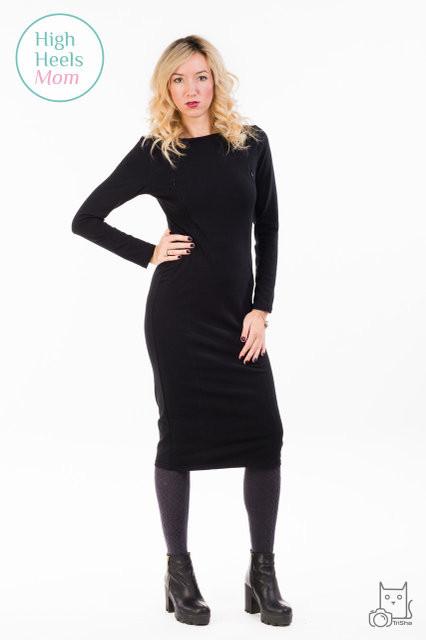 Платье футляр для беременных и кормящих мам HIGH HEELS MOM (чёрный, размер S/M)