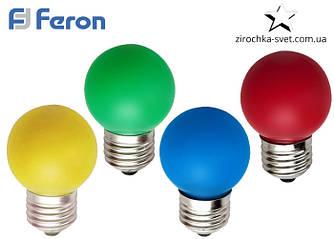 Светодиодная цветная лампа 1w G45 E27 Feron LB-37