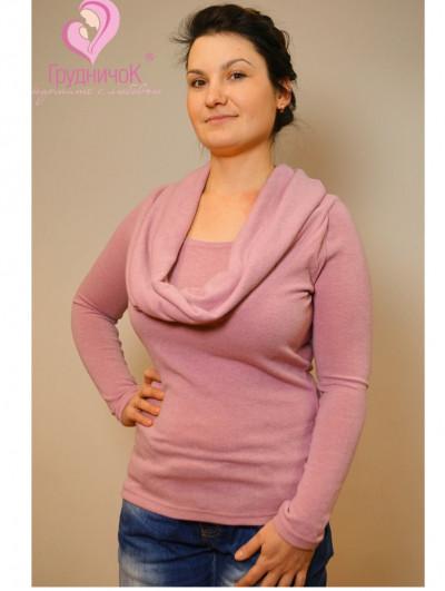 Свитер с хомутом-шарфом для кормящих Кальмия ГРУДНИЧОК (размер 52,розовый)