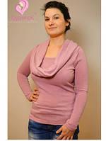 Свитер с хомутом-шарфом для кормящих Кальмия ГРУДНИЧОК (размер 52,розовый), фото 1