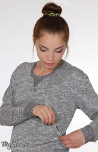 Свитшот для беременных и кормящих Elfi light ЮЛА МАМА (серый меланж, размер M)