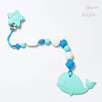 Силиконовая игрушка-грызунок на держателе Dolphin BABY MILK TEETH, фото 1