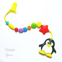 Силиконовая игрушка-грызунок на держателе Pengui BABY MILK TEETH, фото 1