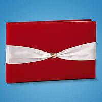 Свадебная книга для пожеланий красного цвета с белой лентой