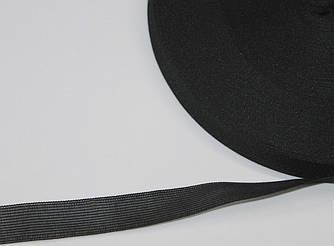 Тесьма лямовка 28 мм усиленная черная. 100 метров в бухте