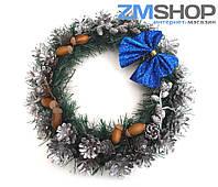 Венок новогодний средний (40 см) синий