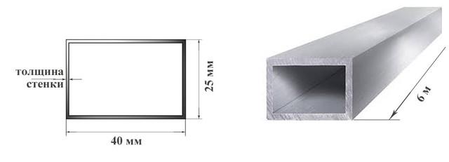 Алюминиевая профильная труба, алюминиевый бокс 40х25 мм 6060 Т6