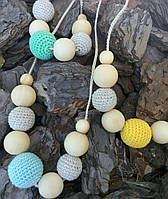 Слингобусы вязаные лен с одной цветной бусиной ФРЕЯ, фото 1