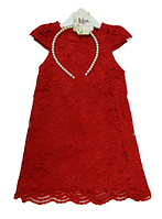 Нарядное гипюровое платье с обручем для девочек,р.92-110, Lilax