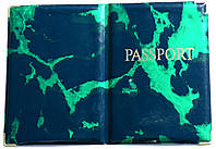 Глянцевая обложка на загранпаспорт «Мрамор» цвет зелёный