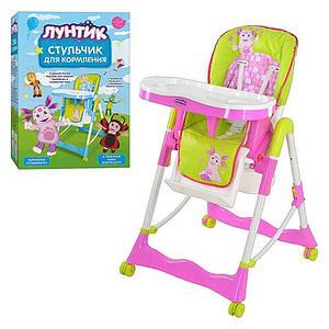 Детский стульчик для кормления Bambi LT 00010 U/R Салатово-розовый Лунтик