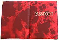 Глянцевая обложка на загранпаспорт «Мрамор» цвет красный