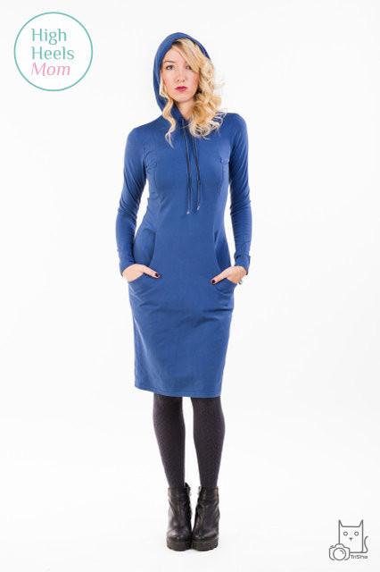 Спортивное платье с капюшоном для беременных и кормящих мам HIGH HEELS MOM (синий, размер S/M)