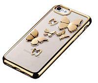 Объемный чехол с бабочками для Iphone 6/6s (золотистый)