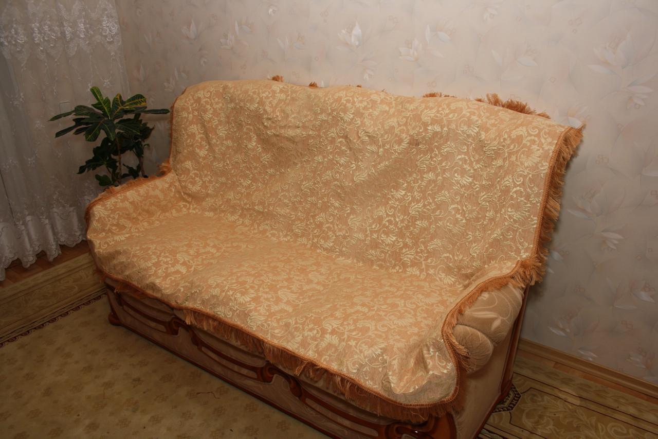 Покрывала гобеленовые в комплекте для дивана и два кресла Лаура беж