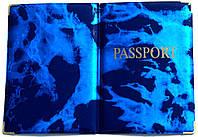 Глянцевая обложка на загранпаспорт «Мрамор» цвет синий