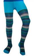 Термоколготки детские Soft Merino Wool NORVEG (бирюзовые с цветной полоской, размер 110/116)