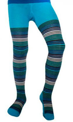 Термоколготки детские Soft Merino Wool NORVEG (бирюзовые с цветной полоской, размер 74/80)