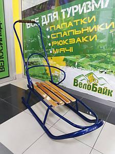 Санки дитячі зі спинкою та ручкою сині П-0009 Україна
