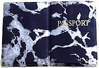 Глянцевая обложка на загранпаспорт «Мрамор» цвет чёрный