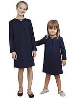 Платье  для девочки трикотажное с рукавом М-1107  рост 98 104 110 116 122 128 134 и 140 синее, фото 1