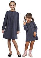 Платье  для девочки трикотажное с рукавом М-1107 размеры от 98 до 140 сиреневое, фото 1