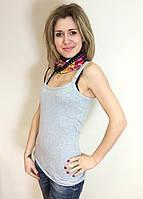 Топ-майка с бюстье для кормящих Амсония ГРУДНИЧОК (размер 42,серый)