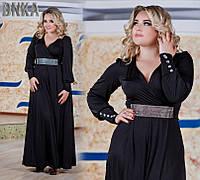 Вечернее  платье с красивым поясом и декоративными пугавицами