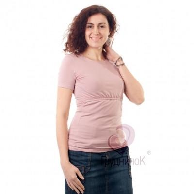 Футболка для кормящих (удлиненная) короткий рукав Нежность ГРУДНИЧОК (размер 44,розовый)