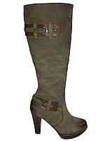 Кожаные сапоги женские демисезонные на каблуке коричневые Kati 5351