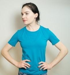 Футболка для кормящих с V-образной горловиной короткий рукав Марина ГРУДНИЧОК (размер 50,бирюзовый)