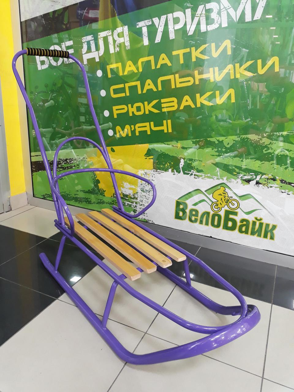 Санки как Тако Grand детские со спинкой и ручкой сиреневый П-0009 Украина