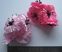 """Цветы в букетиках""""Мак"""" искусственные по 6 шт. тканевые"""